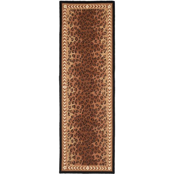 Safavieh Chelsea Print Rug - 2.5' x 8' - Wool - Black/Brown