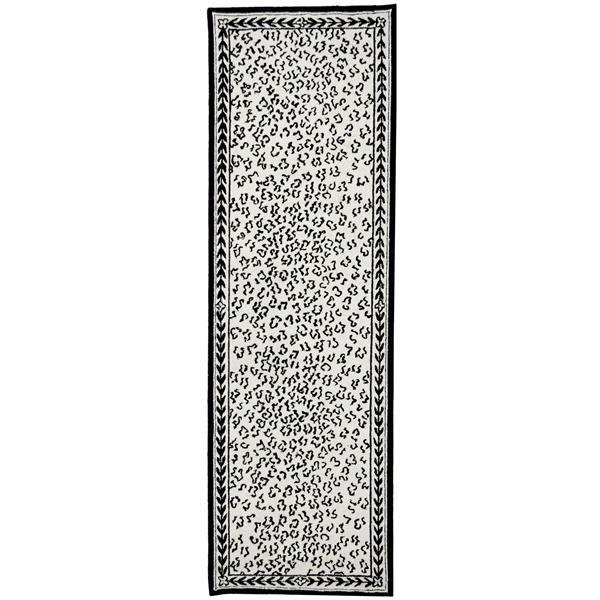 Safavieh Chelsea Print Rug - 2.5' x 8' - Wool - White/Black