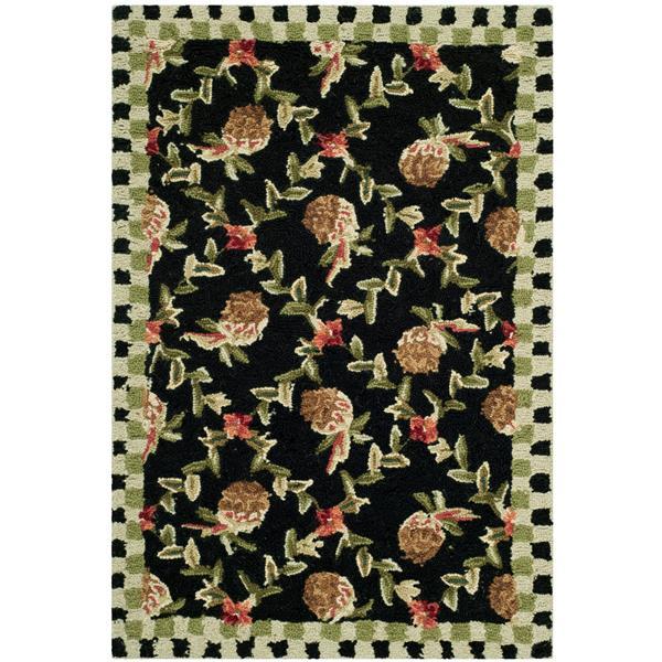 Safavieh Chelsea Floral Rug - 2.5' x 4' - Wool - Black/Ivory