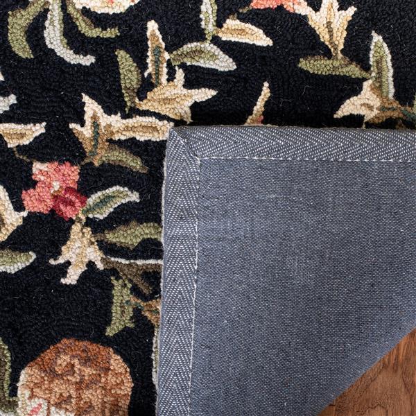 Safavieh Chelsea Floral Rug - 2.5' x 8' - Wool - Black/Ivory