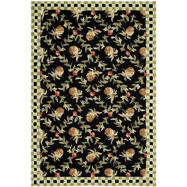 Safavieh Chelsea Floral Rug - 2.8' x 4.8' - Wool - Black/Ivory