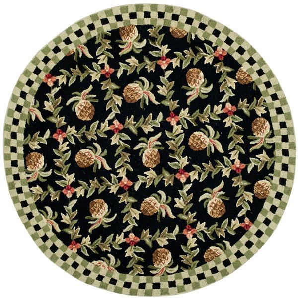 Safavieh Chelsea Floral Rug - 4' x 4' - Wool - Black/Ivory