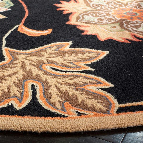 Safavieh Chelsea Floral Rug - 2.5' x 8' - Wool - Black/Orange