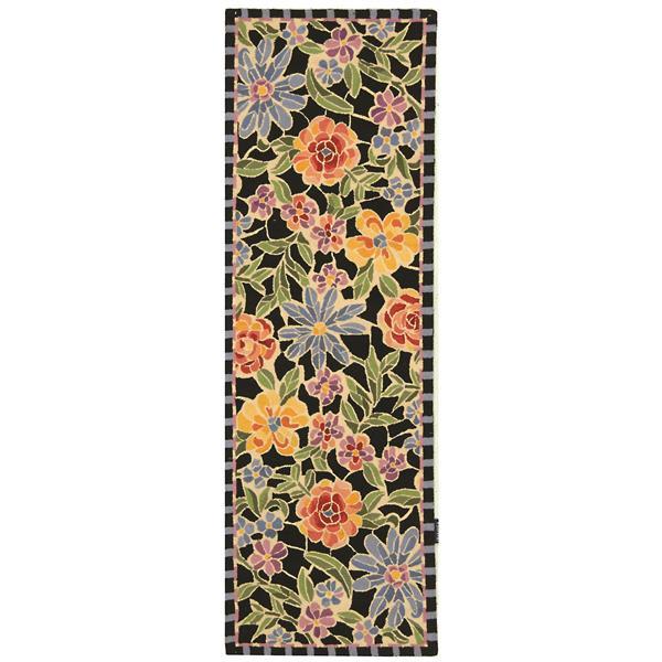 Safavieh Chelsea Floral Rug - 2.5' x 8' - Wool - Black