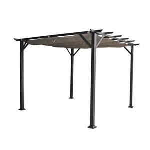 Vienna pergola with retractable canopy - Black - 10'x10'