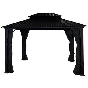 Gazebo Métropolis avec toit en Galvalume®, Noir, 10'x12'