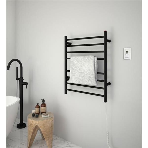 Ancona Prestige Dual 8-Bar Towel Warmer with Timer - Black