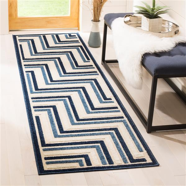"Safavieh Cottage Geometric Rug - 2' 3"" x 8' - Cream/Blue"