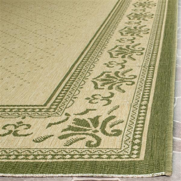 "Safavieh Courtyard Border Rug - 2' 3"" x 10' - Natural/Olive"