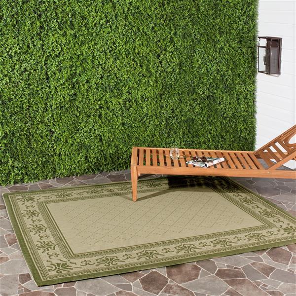 "Safavieh Courtyard Border Rug -  2' 7"" x 5' - Natural/Olive"
