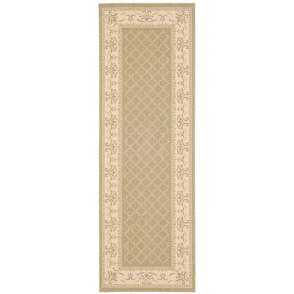 "Safavieh Courtyard Border Rug - 2' 3"" x 10' - Olive/Natural"