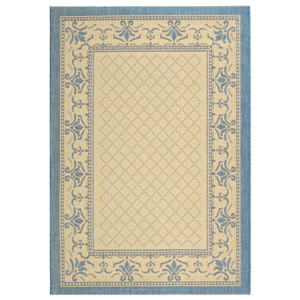 "Safavieh Courtyard Border Rug - 4' x 5' 7"" - Natural/Blue"