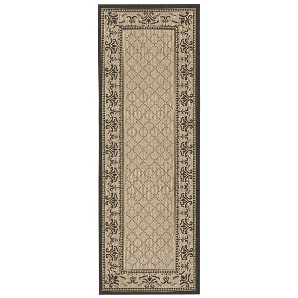 "Safavieh Courtyard Border Rug - 2' 4"" x 14' - Sand/Black"