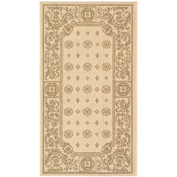 "Safavieh Courtyard Floral Rug - 4' x 5' 7"" - Natural/Brown"
