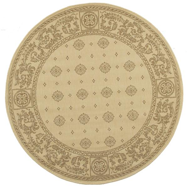 "Safavieh Courtyard Floral Rug - 5' 3"" x 5' 3"" - Natural/Brown"