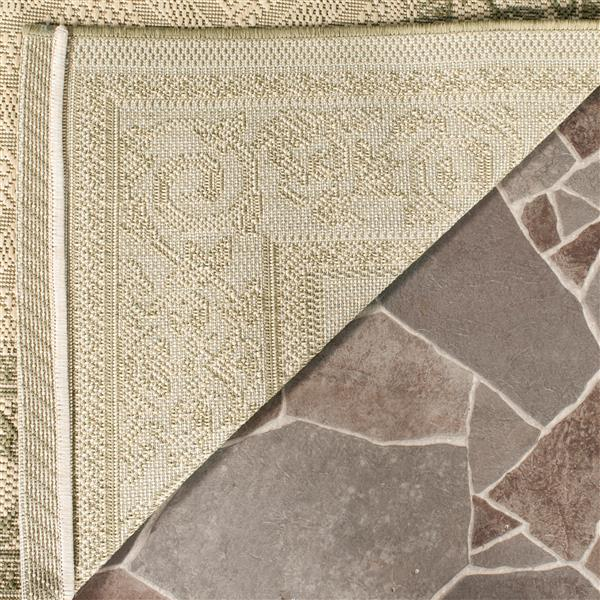 "Safavieh Courtyard Border Rug - 5' 3"" x 7' x 7"" - Natural/Olive"