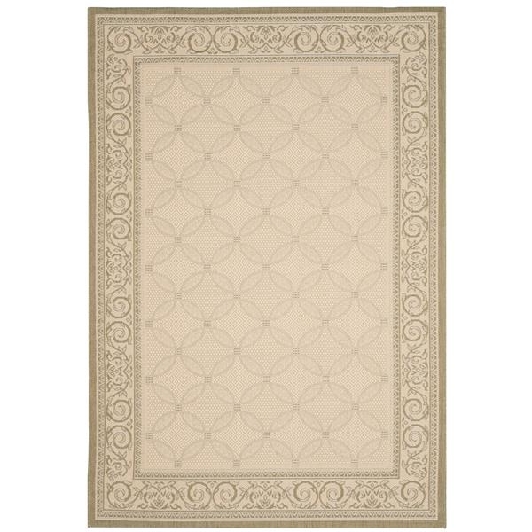 "Safavieh Courtyard Border Rug - 4' x 5' 7"" - Natural/Olive"