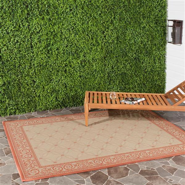 "Safavieh Courtyard Border Rug - 4' x 5' 7"" - Natural/Terra"