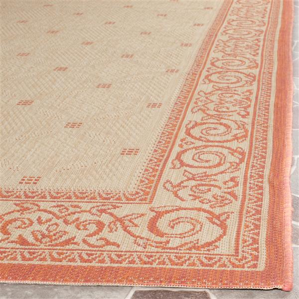 "Safavieh Courtyard Border Rug - 5' 3"" x 5' 3"" - Natural/Terra"