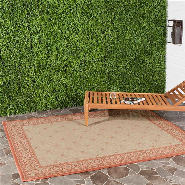 "Safavieh Courtyard Border Rug - 5' 3"" x 7' 7"" - Natural/Terra"