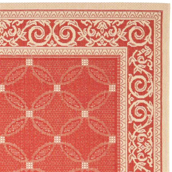 "Safavieh Courtyard Border Rug - 5' 3"" x 7' 7"" - Red/Natural"