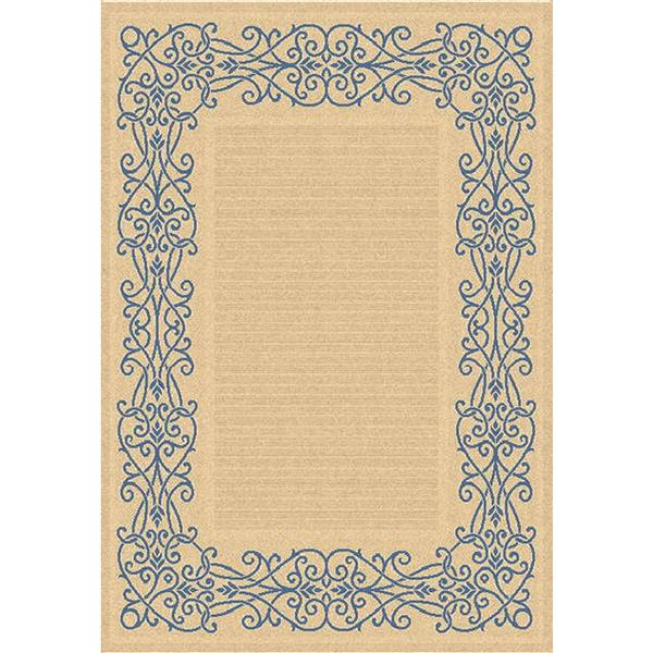 "Safavieh Courtyard Border Rug - 5' 3"" x 7' 7"" - Natural/Blue"
