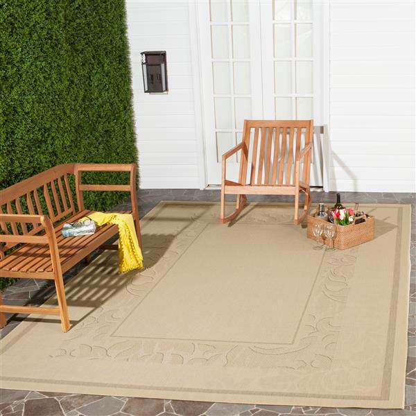 "Safavieh Courtyard Border Rug - 4' x 5' 7"" - Natural/Brown"