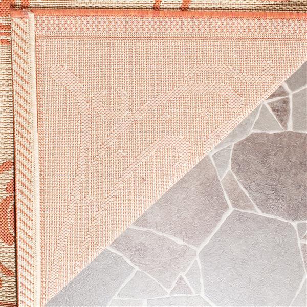 """Safavieh Courtyard Floral Rug - 5' 3"""" x 5' 3"""" - Natural/Terra"""