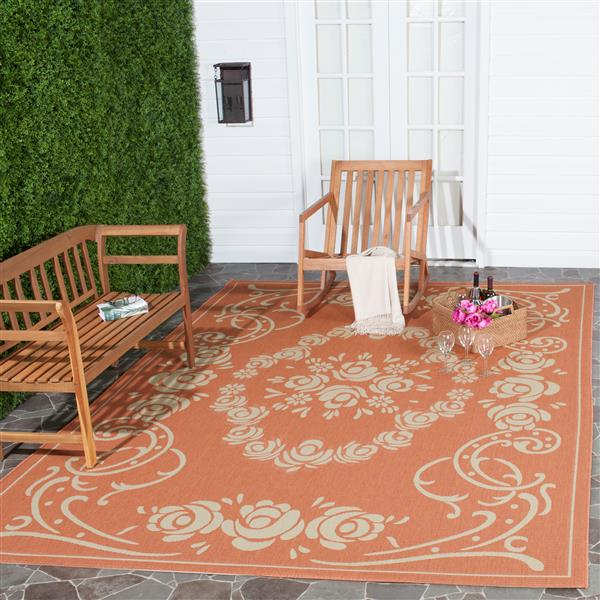 "Safavieh Courtyard Floral Rug - 4' x 5' 7"" -Terracotta/Natural"