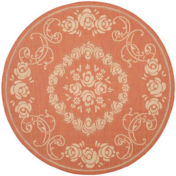 "Safavieh Courtyard Floral Rug - 5' 3"" x 5' 3"" - Terracotta/Natural"
