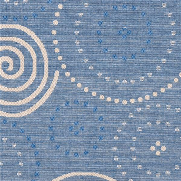 "Safavieh Courtyard Geometric Rug - 2' 4"" x 14' - Blue/Natural"