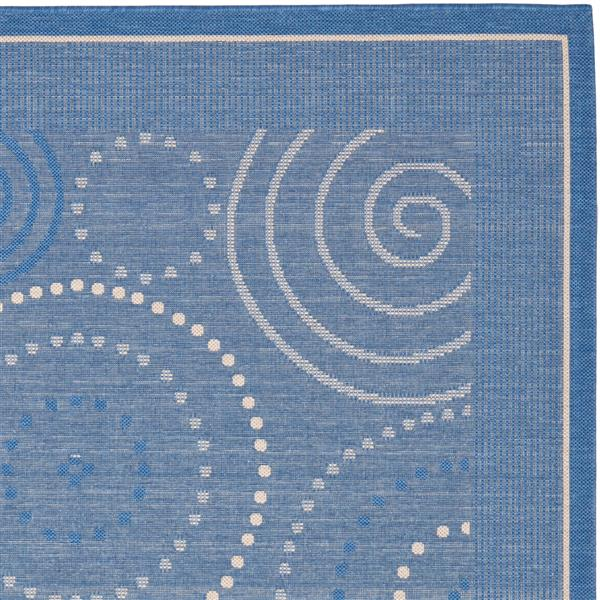 "Safavieh Courtyard Geometric Rug - 5' 3"" x 7' 7"" - Blue/Natural"