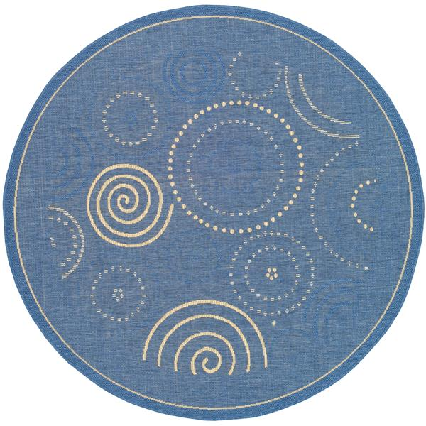 "Safavieh Courtyard Geometric Rug - 5' 3"" x 5' 3"" - Blue/Natural"