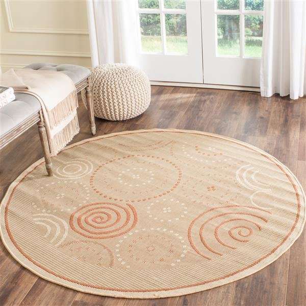 "Safavieh Courtyard Geometric Rug - 5' 3"" x 5' 3"" - Natural/Terra"
