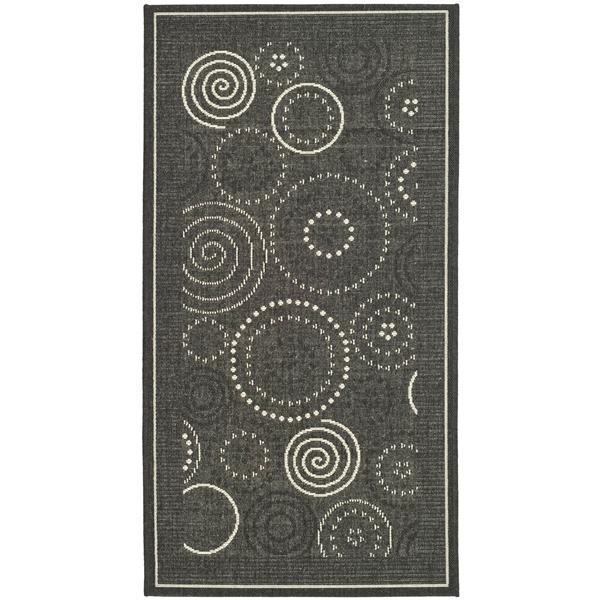 "Safavieh Courtyard Geometric Rug - 4' x 5' 7"" - Black/Sand"