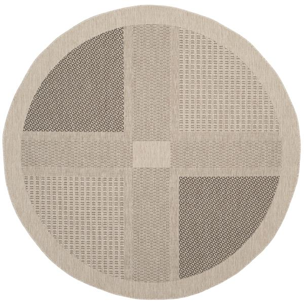 "Safavieh Courtyard Geometric Rug - 5' 3"" x 5' 3"" - Sand/Black"