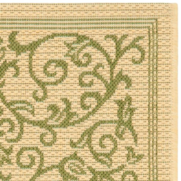 "Safavieh Courtyard Floral Rug - 2' 3"" x 10' - Natural/Olive"