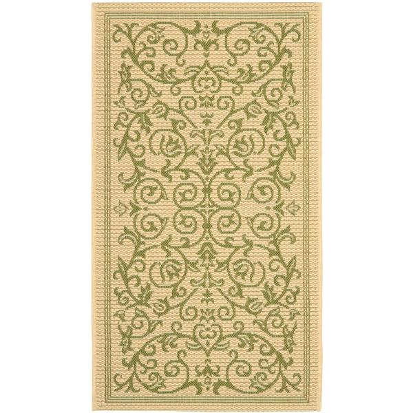 "Safavieh Courtyard Floral Rug - 2' 7"" x 5' - Natural/Olive"
