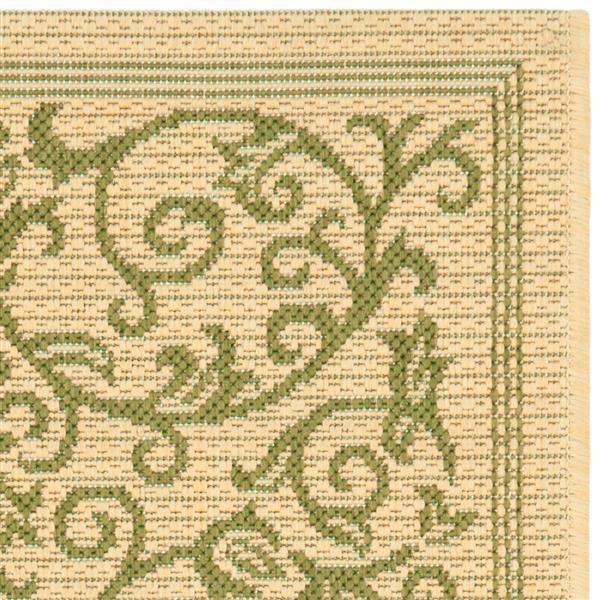 "Safavieh Courtyard Floral Rug - 4' x 5' 7"" - Natural/Olive"