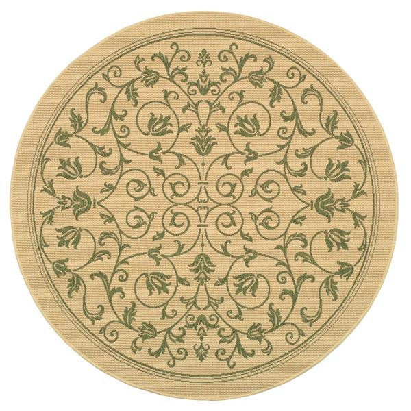 "Safavieh Courtyard Floral Rug - 5' 3"" x 5' 3"" - Natural/Olive"
