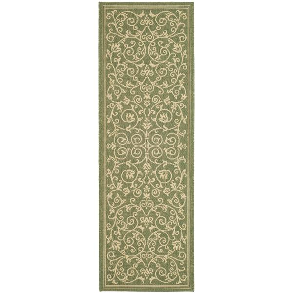 "Safavieh Courtyard Floral Rug - 2' 3"" x 10' - Olive/Natural"