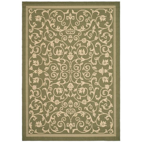 "Safavieh Courtyard Floral Rug - 5' 3"" x 7' 7"" - Olive/Natural"