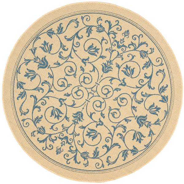 "Safavieh Courtyard Floral Rug - 5' 3"" x 5' 3"" - Natural/Blue"