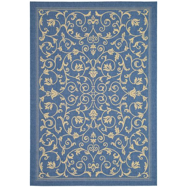 "Safavieh Courtyard Floral Rug - 4' x 5' 7"" - Blue/Natural"
