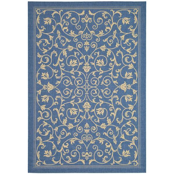 "Safavieh Courtyard Floral Rug - 5' 3"" x 7' 7"" - Blue/Natural"