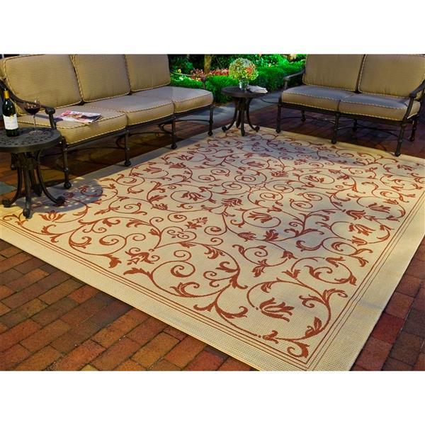 """Safavieh Courtyard Floral Rug - 5' 3"""" x 7' 7"""" - Natural/Terra"""