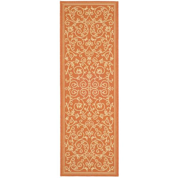 "Safavieh Courtyard Floral Rug - 2' 3"" x 6' 7"" - Terracotta/Natural"