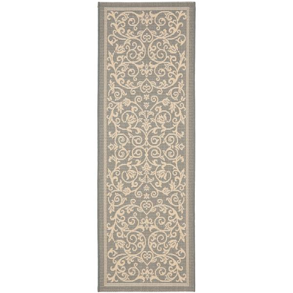 "Safavieh Courtyard Floral Rug - 2' 3"" x 10' - Grey/Natural"