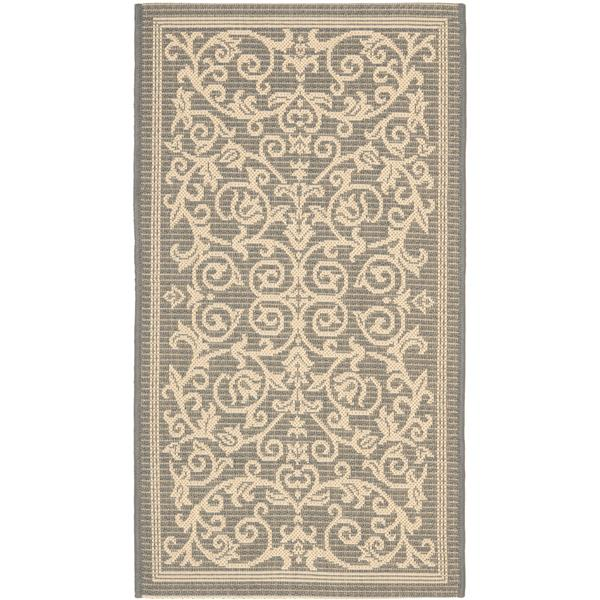 "Safavieh Courtyard Floral Rug - 2' 7"" x 5' - Grey/Natural"