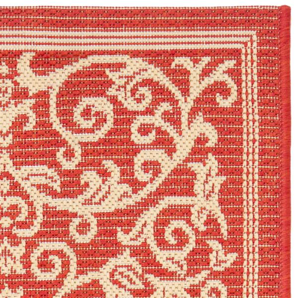 """Safavieh Courtyard Floral Rug - 2' 3"""" x 10' - Red/Natural"""